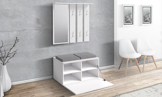 meuble de couloir avec banc